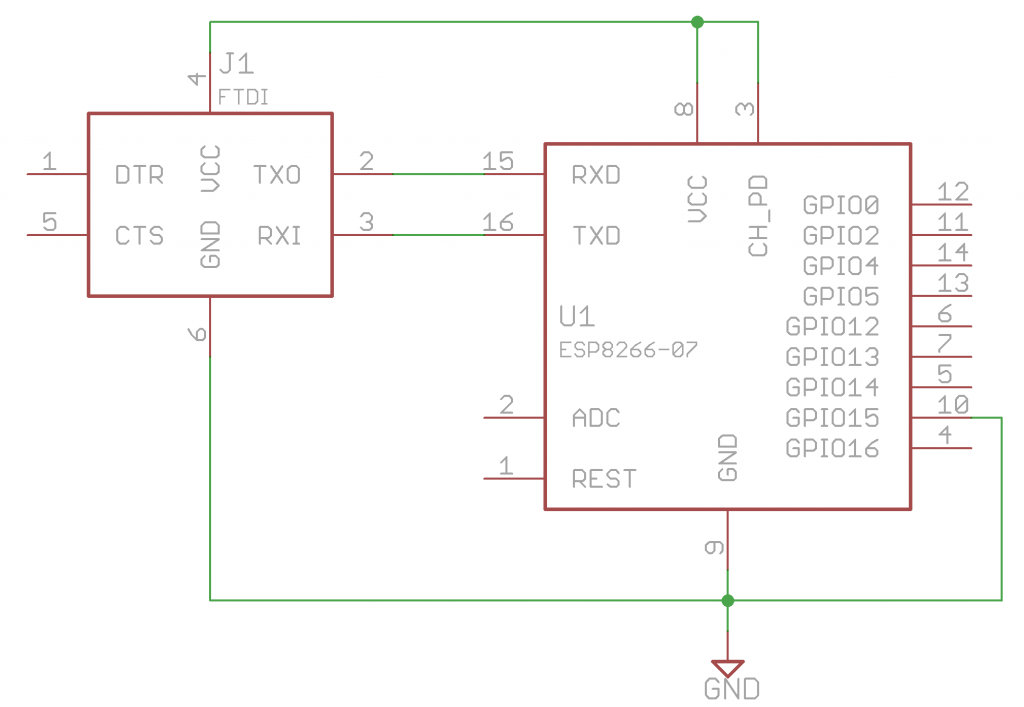 Schematic of ESP8266 Wireless Module wired to FTDI Programmer