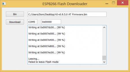 ESP8266 Flash Downloader finished flashing