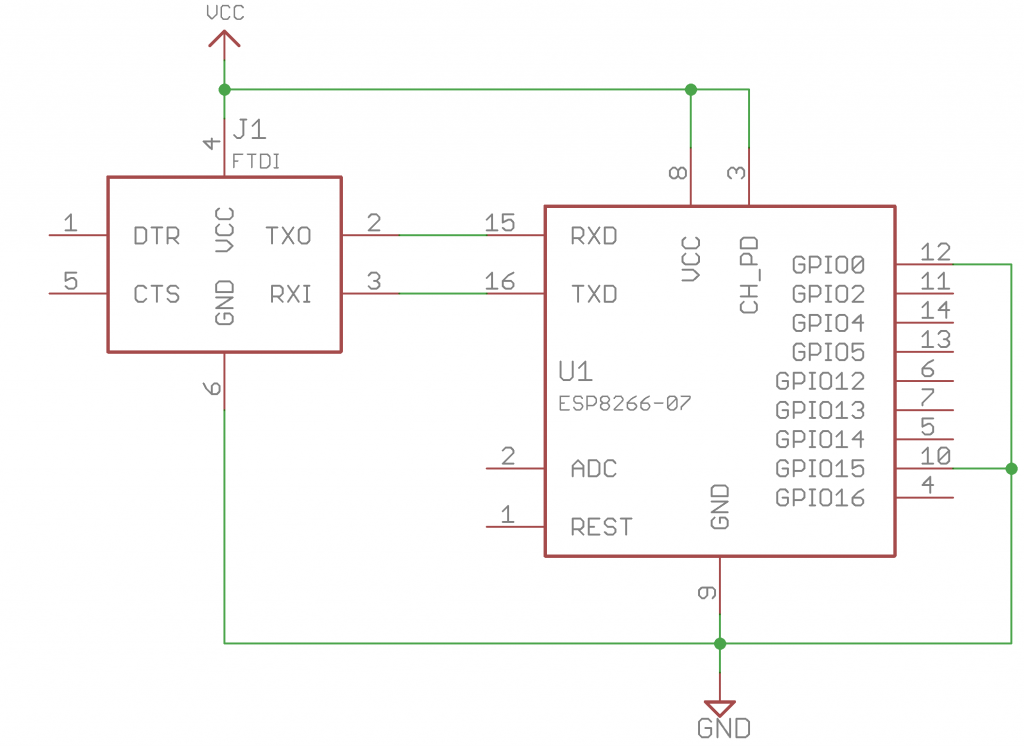 Schematic of ESP8266 module in ESP-07 package with flash mode enabled and wired to an FTDI programmer.