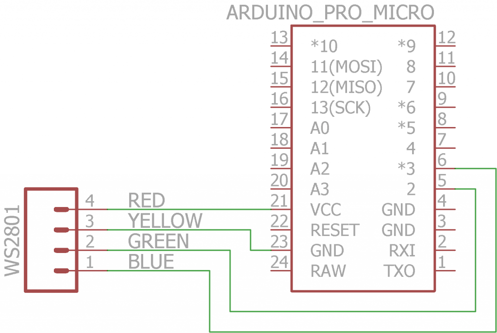 Arduino Pro Micro connected to WS2801 LED String