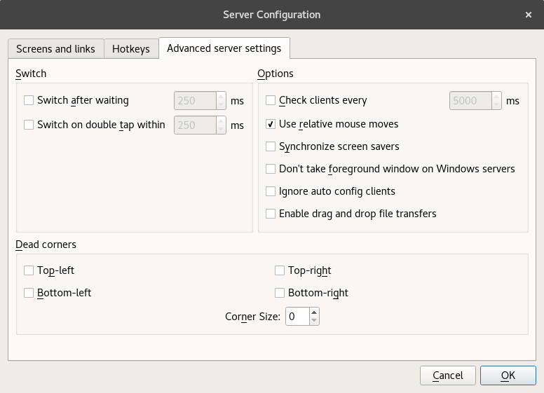 Synergy Advanced server settings page with Use relative mouse moves option enabled